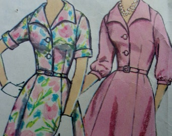 60s Plus Size V Neckline Button Front Dress Pattern Simplicity 4478 Bust 45 Mad Men Dress