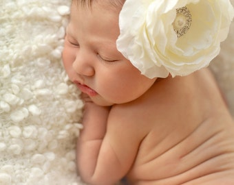 Ivory christening headband, newborn headband, infant headband, baby headband, flower headband, ivory baby headband, baptism headband