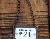 Cheers to No. 21- The Bourbon Bottle Tag Collection - The Riveted Series - Brass Pewter Copper Layered Metal Label - 21st Birthday Gift