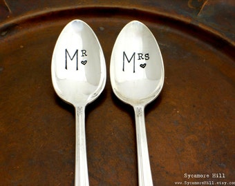 CUSTOM Mr. & Mrs.  His nad  Hers  Stamped Spoons. The Bridal Pair.  Coffee Lovers Spoons  The Original Hand Stamped Vintage Spoons wedding
