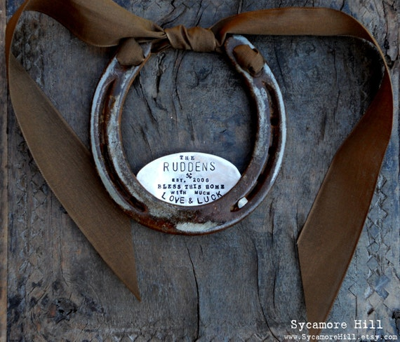 Shamrock Love & Luck Horseshoe™ CUSTOM. Traditional Symbol of Good Luck. Handmade Original by Sycamore Hill. Southern Wedding Charm. Rustic
