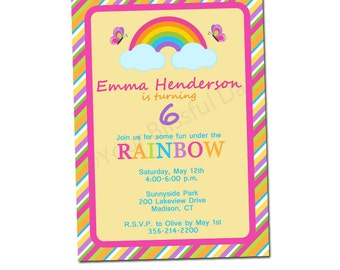 PRINTABLE Girl Rainbow Party Invitations #535