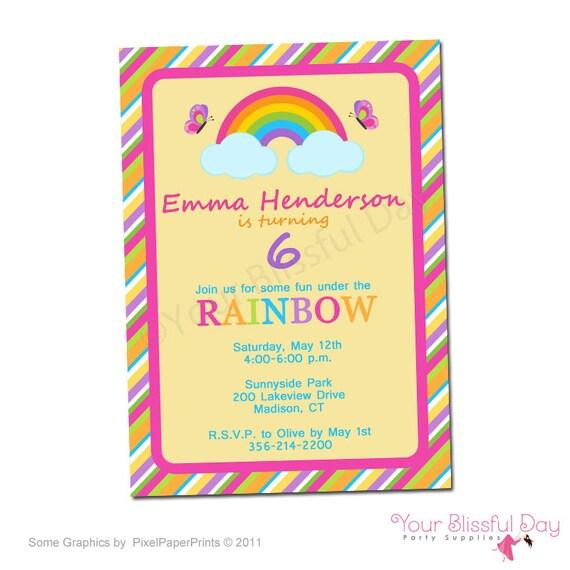 PRINTABLE Girl Rainbow Party Invitations #535