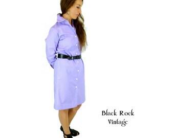 Lavender Shirt Dress, Wide Collar, Vintage 1970s, Size Small / Medium