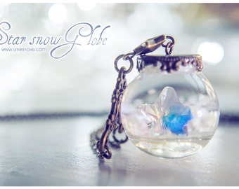 Star Snow-Globe necklace, star necklace, glass orb necklace, snow necklace, swarovski wish necklace christmas fairytale gift for her