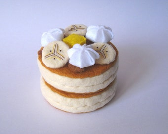 Felt food Pancake set (banana) eco friendly childrens pretend play food for toy kitchen