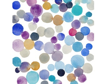 Original Watercolor painting Dots Art  - bubbles - original abstract Painting - Nursery room decor wall art