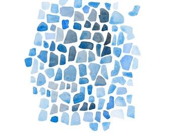 Original Watercolor painting Blue Sea glass art Abstract little painting  beach glass painting