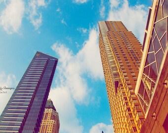 NYC Photography, Electric Blue Skyline, Aqua Peach and Purple, Skyline Home Decor, Manhattan Buildings Home Decor, Office Decor