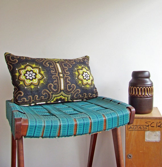 Mid Century Modern Pillow Cover Vintage Barkcloth Cushion