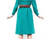 Teal Silk  I Magnin Dress / Long Sleeve Pleated Yolk / Size Medium