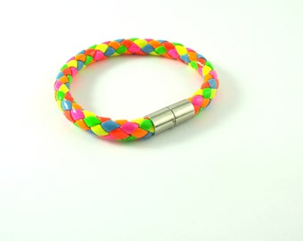 Multicolored Neon latex bracelet with  magnetic clasps pink yellow neon colors pink orange multicolored polychrome blue turquoise red green