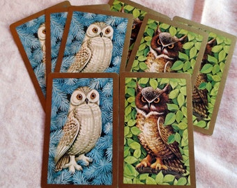6 Owl Pair Vintage Playing Cards - 3 Snowy Owls, 3 Horned Owls