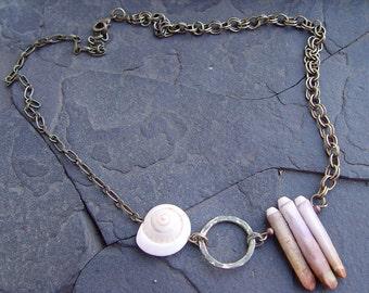 Sea Life - Sea Urchin Spikes, Shiva Shell and Brass Necklace