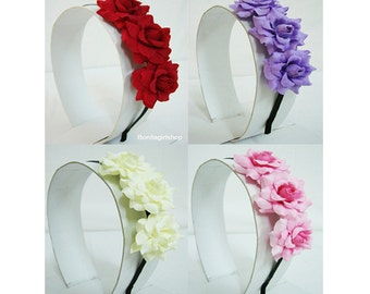 Rose Flower Headband Bridal Wedding choose color