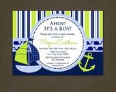 Nautical Baby Shower Invitations Printable File, Nautical Birthday, Sailboat, Anchor, Navy and Green