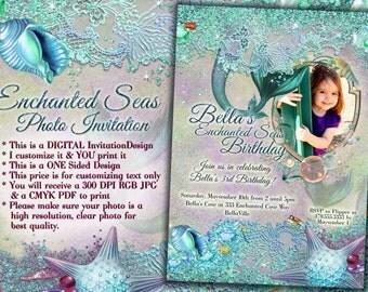 Mermaid Party Photo Invitation, Mermaid Party, Mermaid Invitations, Photo Birthday Card
