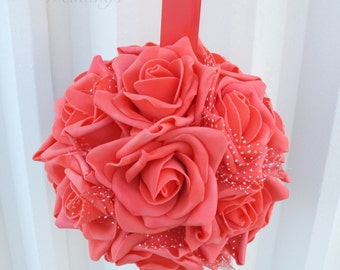 Wedding flower balls Coral foam rose Flower girl pomander Kissing ball Wedding decorations Ceremony Aisle pew markers