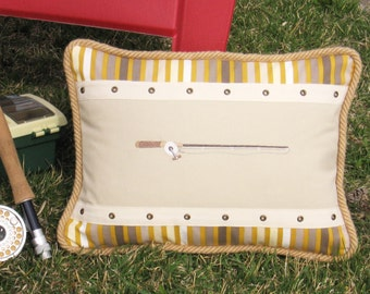 "Decorative Pillow Fishing Pole 16"" x 12"" Rectangular Cabin Lodge decor Unique Accent chic Yellow Greige Fisherman Sporty Look Nature Lake"