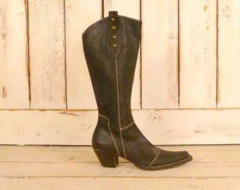 Vintage brown nubuck leather knee high western cowboy boots/fitted leather cowgirl boots/8.5/39