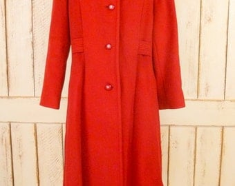 Vintage lipstick red long winter wool coat/cherry red wool coat/medium/large