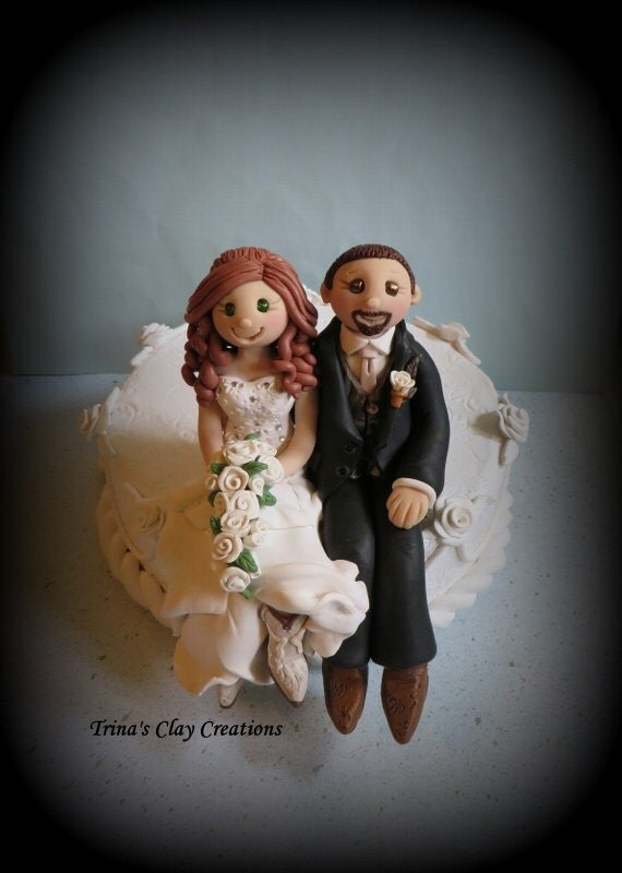 wedding cake topper custom cake topper bride and groom sitting on