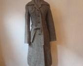 Incredible 60s 70s Long Wool Tweed Coat, Switzerland, Small