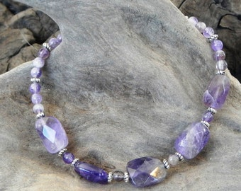 "Purple faceted amethyst bracelet 8.5"" long semiprecious stone jewelry February birthstone packaged in a colorful gift bag 10136"