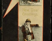 Happy New Year postcards, Scrapbooking supplies, 1920s cards, Ringing bells, sled ride, Vintage postcards,