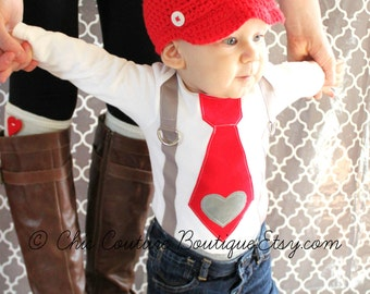 Valentine Baby Boy Tie and Suspenders Bodysuit with Heart Applique. Baby's 1st Photo Prop Red Gray Grey Birthday Outfit Cake Smash