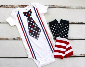 4th of July Tie and Suspenders Bodysuit & Leg Warmers SET.  Stars and Stripes Patriotic Baby Boy. Red, White, Blue. Summer July Outfit