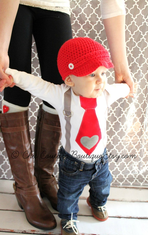 Baby Boys Valentines Day Bodysuit Stud Muffin Outfit  |Baby Boy Valentine Outfit