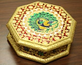 Peacock Chest Jewelry Tin Vintage Royal Gold Leaf Peacock Container