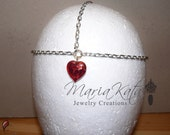 Newborn/Baby to Adult Head Chain- with Sold or Floral Glass heart pendant