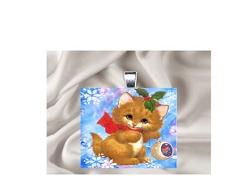 Scrabble Tile Pendant Necklace Christmas Cat
