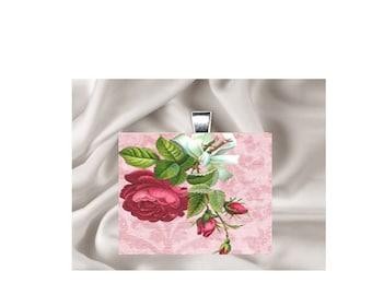 Scrabble Tile Pendant Necklace Floral