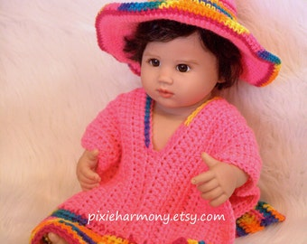 Baby Sombrero and Poncho - Newborn to 3 months - Photo Prop - Hot Pink and multicolor - Mexico - South America - Indian