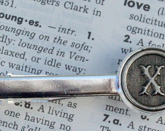 Custom Initial Letter Tie Clip Tie Bar Wedding Personalized Gift Typewriter Key Groomsm  Silver