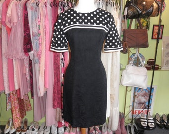 80s 90s black white cotton polka dot stripe illusion dress 1980s 1990s fitted pin up office mini dress size 6