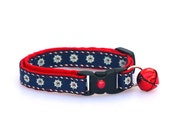 Nautical Cat Collar - Ships Wheels on Navy - Kitten or Large Size