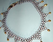 Copper Chainmail choker Necklace TearDrop Real Pearl Accents Hand Made