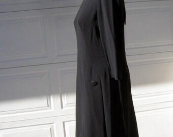 """Classic LBD Vintage 60s Abe Schrader Black Crepe Dress Bust 42"""" Scarf Tie Back"""