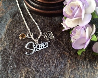Sister Necklace, Birthstone Necklace, Silver Necklace, Gifts for Sisters, Christmas Gift, Heart Necklace,  Best Sister Necklace