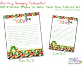 "The Very Hungry Caterpillar Themed ""Wishes for Baby"" Cards-Printable File INSTANT Download"