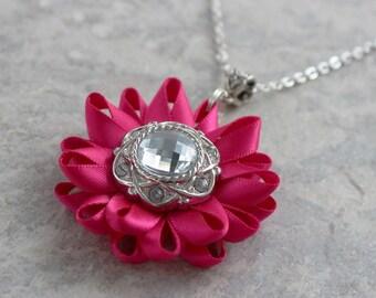 Fuchsia Necklace, Fuchsia Flower Necklace, Fuchsia Wedding Flowers, Fuchsia Bridesmaid Jewelry, Custom Necklace, Custom Wedding Flowers