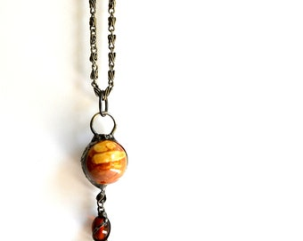 Ceramic Ball, Long Necklace,  Handmade Necklace,  Bohemian Jewelry, Boho Chic, Long Ball Necklace, Ceramic Sphere (203-9)
