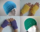 Kylie Hat and Wristlets Set - Digital Download PDF Pattern - Beanie Beenie Cloche Cap Fingerless Gloves