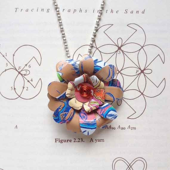 Peace Tea Floral Necklace -- Soda Poppies UpCycled Aluminium Flowers