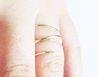 Gold Ring Filled 14 Karat Stacking Ring Hammered Gold Organic Ring