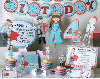 Prince and Princess Birthday Party, Knight Birthday - Invitation, Cake Topper, Banner, Package, Favor, Decoration